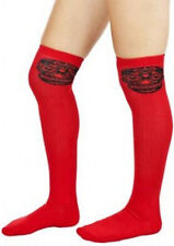 78535 Red & Black Sugar Skull Muerte Thigh High Socks Sourpuss Roller Derby