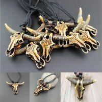 nachahmung yak knochen - kette geschnitzte kuh kopf - anhänger schmuck amulet