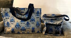 Thirty-one Playful Blue Robots Littles Pop Up Utility Bin And Carry All Caddy