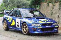 TROFEU 1105 1129 SUBARU IMPREZA model rally cars C McRAE & N GRIST 1997/8 1:43rd