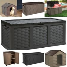 More details for large plastic garden cushion / toy storage boxes / chests / sheds / cabinets
