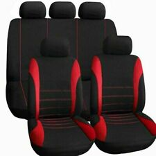 Red Car Seat Covers Full Set Universal 9pc Protector Washable Pet Front Rear