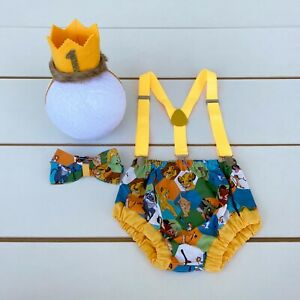 4 Piece The Lion King Cake Smash Outfit - First Birthday Outfit - Simba - Boy