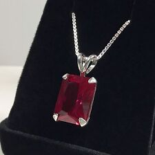 GORGEOUS 14ct Emerald Cut Ruby Solitaire Pendant Sterling Silver Necklace NWT