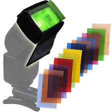 12 Color Cámara Speedlite Disparador Flash Gel FILTROS + Velcro Soporte