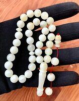 White Baltic Amber 33 Beads 15gr. Islamic Prayer Rosary Tesbih Misbah Kehribar
