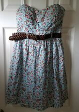 Strapless Floral Dress with belt  DEB Brand size 9