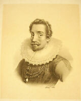 """Lithography 19th Century Portrait a Character to Identify. Notes """" Lavardin """""""
