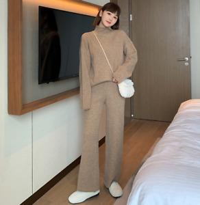2pcs Women Cashmere Blend Turtleneck Sweater Pants Winter Thick Knitwear Suits