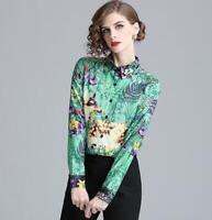 Floral Printed Womens Slim Tops Shirt Blouses Career Tops OL Shirts Lapel Formal