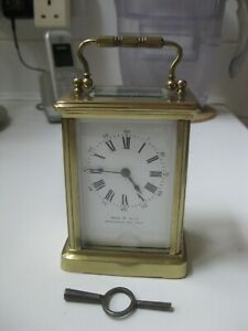 Antique Brass Carriage Clock. Probably French, working with key.