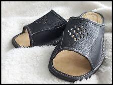 Mens Natural Leather Slippers Flip Flops Black UK size 7, 8, 9, 10, 11, 12 Shoes