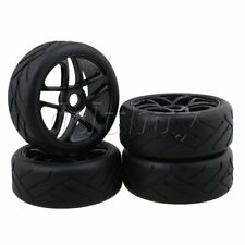 4x RC1:8 Off-Road Car Flower Type Rubber Tyre+ 5 Spoke Wheel Rim Black