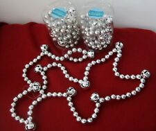 3 BOXES SILVER TONE BEADED GARLANDS 15 FEET TOTAL