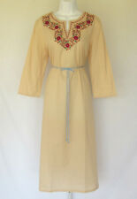 VINTAGE 1960s 70s INDIA COTTON BOHO HIPPIE DRESS EMBROIDERED FLOWERS COTTON BELT