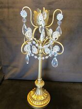 "Candle holder 16"" gold tone metal Glass teardrop Prisms beads Hollywood Regency"