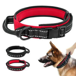 Reflective Adjustable Training Dog Collar With Control Handle for Large Dogs