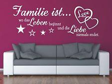 Wandtattoo Spruch , Familie wo Leben Liebe Wandsticker Wandaufkleber Sticker 2