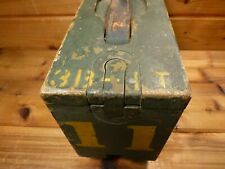 Original Wwi Ammo Box Wooden Brass Hardware Push Button Leather Handle Us Army