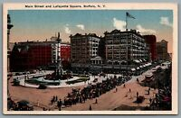 Postcard Buffalo NY c1910s Main Street and Lafayette Square Hand Tinted