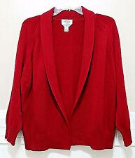 TALBOTS Ladies XL Cardigan Wine Red Mercerized Cotton Open Front Sweater Merlot