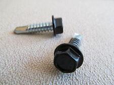 "Unslot Hex Washer Head Self Drilling Screw Zinc Plated BLACK 1/4-14-1"" Frame RV"