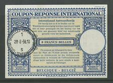 BELGIUM EXHIBITION 1958 REPLY PAID COUPON IRC 8F SPECIAL POSTMARK
