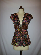 Sexy SKY Brand Vneck Belted Top/Shirt/Blouse Sz.S