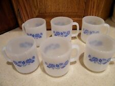 Vint. Set of 6 Corning Ware Blue Cornflower Coffee Cups /Mugs 3&1/2 Inches Tall