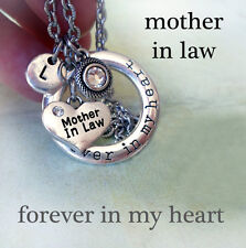 Mother in Law Forever In My Heart Necklace w-Swarovski Birthstone & Letter Charm