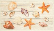 "TEXTURED KITCHEN RUG (17""x30"") SEALIFE, SEASHELLS & STARFISH, Apache Mills"