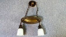 ANTIQUE HANGING CEILING LIGHT FIXTURE TWO ANTIQUE FROSTED GLASS SHADES
