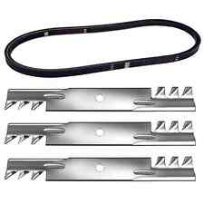 "48"" Deck Kit Belt & Mulching Blades For John Deere D140 D150 D160 LA130 X140"