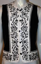 ANN TAYLOR Black Velvet White Silk Embroidered Vest NOS NEW 6