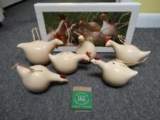 NEW Les Poules De By Catherine Hunter 6 Yellow Ceramic Chicken Ornaments Boules