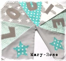 Baby Boy Personalised Name BUNTING Grey Mint Green Stars Clouds Luxury fabric