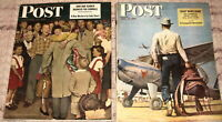 1947 & 1948 SATURDAY EVENING POST WITH NORMAN ROCKWELL & MEAD SCHAEFFER COVERS