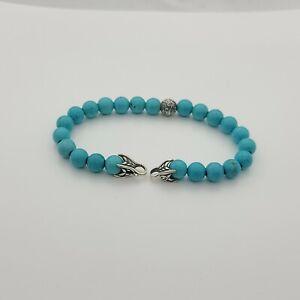 "David Yurman Men's Turquoise Spiritual Beads Bracelet & silver wave length 8.5"""