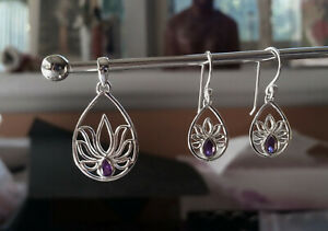 638 Amethyst Lotus Solid 925 Sterling Silver Facet Pendant/Earring Set rrp$99.95