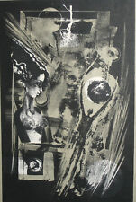 1990 Abstract surrealist nude portrait print signed