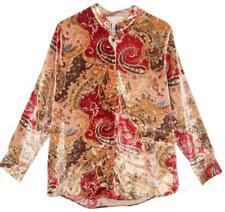 Soft Surroundings Montaigne Top Button Down Shirt M Medium Paisley Velvet