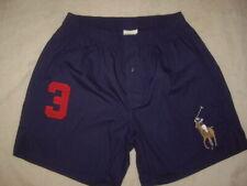 VTG Polo Ralph Lauren Embroidered Big Pony Blue Boxer Shorts Underwear Size M