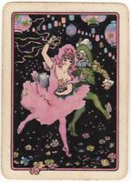 Playing Cards Single Card Old Wide MASKED BALL PARTY Lady Girl Clown Dancing Art