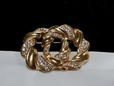 Vintage Estate Haute Couture Gold Givenchy Rhinestone Twist Pretzel Brooch Pin