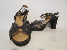 """Bass Womens Liana Leather Buckle Strap 3.75"""" Open Toe Dress Heels Black Size 9 M"""