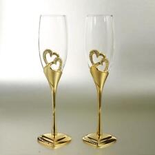 Weddings Champagne Flute Luxury Shiny Gold Heart Shape Toasting Goblet Glasses