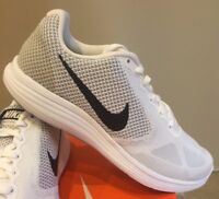 Nike Revolution 3 Mens White Black Grey Mesh Running Shoes - NWD