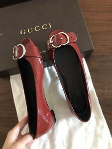 New GUCCI Red Patent Leather Silver GG Buckle Peep Toe Flats 38.5(US 9)