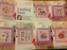 (H) Birthday Wedding Anniversary Cards Rose Pearl Hearts Cross Stitch Chart