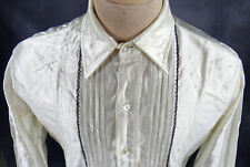 Vintage shiny satin Tuxedo medium shirt 1950 lace trim steampunk victorian white
